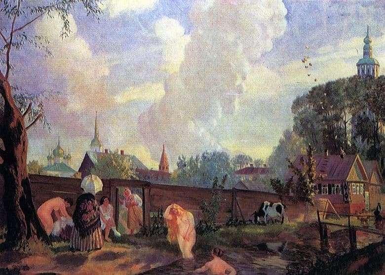 Description of the painting by Boris Kustodiev Bathers
