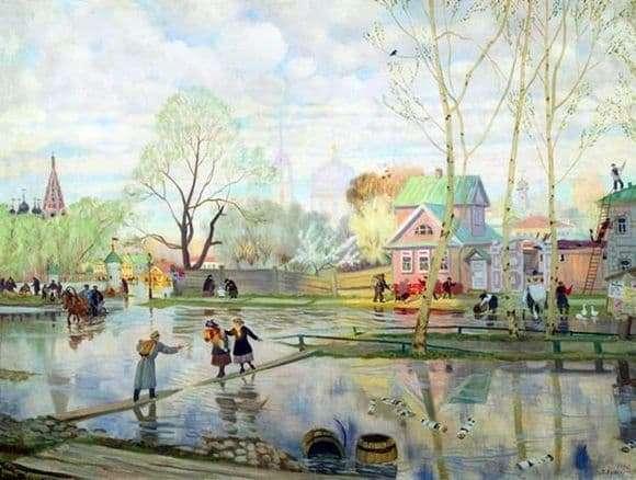 Description of the painting by Boris Kustodiev Spring