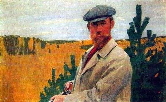 Description of the painting by Boris Kustodiev Self portrait