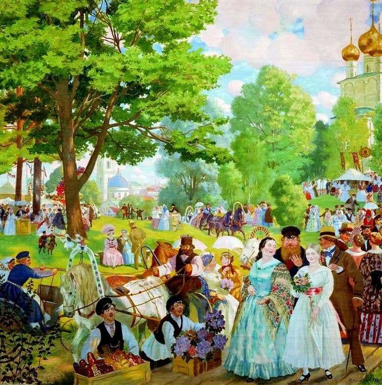 Description of the painting by Boris Kustodiev Trinity Day