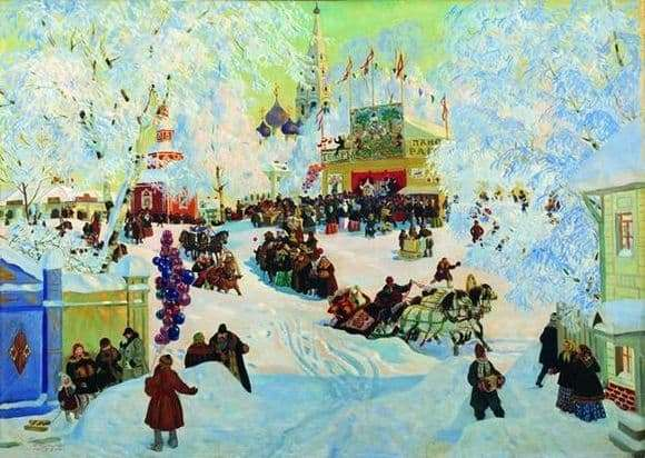 Description of the painting by Boris Kustodiev Winter. Shrovetide festivities