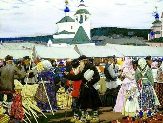 Description of the painting by Boris Kustodiev Fair