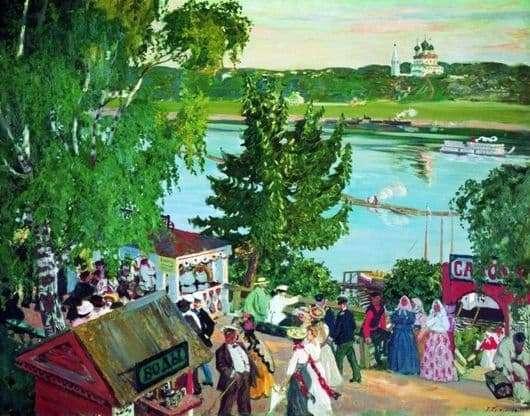 Description of the painting by Boris Kustodiev Walking on the Volga