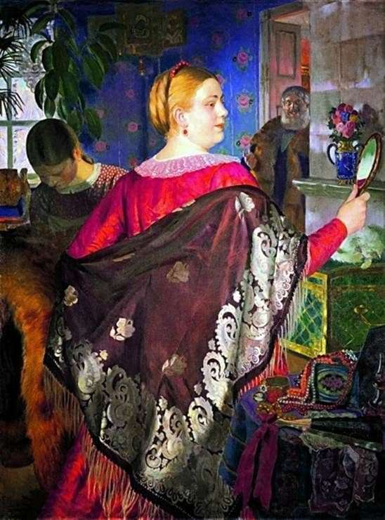 Description of the painting by Boris Kustodiev Merchant with a mirror