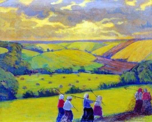 Description of the painting by Boris Kustodiev haymaking