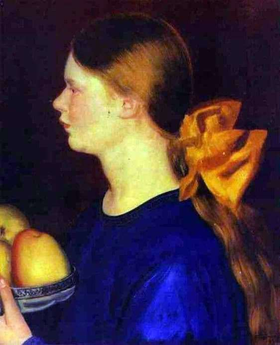 Description of the painting by Boris Kustodiev Girl with apples Irina Kustodiyeva