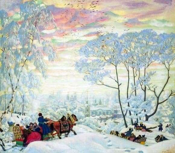 Description of the painting by Boris Kustodiev Winter