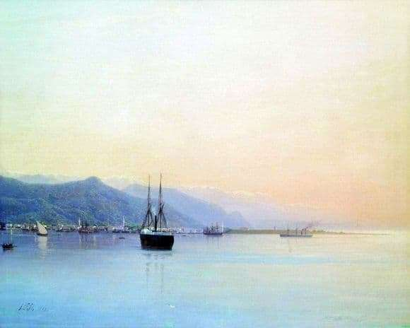 Description of the painting by Lev Feliksovich Lagorio Harbor (1859)