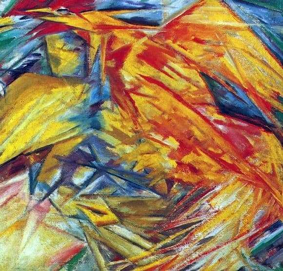 Description of the painting by Mikhail Larionov Rooster and Chicken