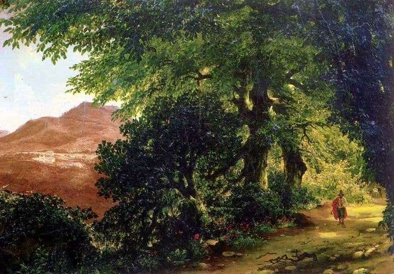 Description of the painting by Mikhail Lebedev Alley in Albano near Rome (1836)