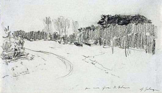 Description of the painting by Isaac Levitan Winter road in the forest