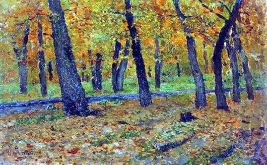 Description of the painting by Isaac Ilyich Levitan Oak grove. Autumn