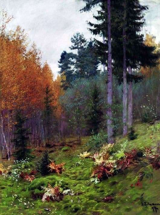 Description of the painting by Isaac Levitan In the forest in the fall
