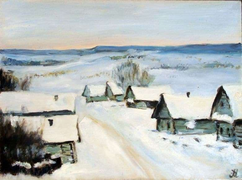 Description of the painting by Isaac Levitan Village. Winter