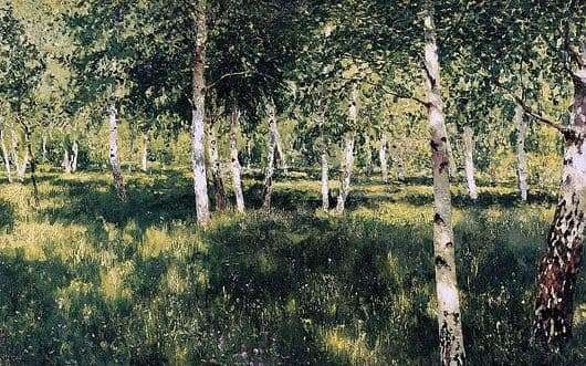 Description of the painting by Isaac Levitan Birch Grove