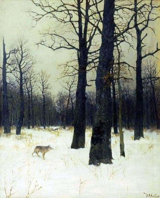 Description of the painting by Isaac Levitan Winter in the forest