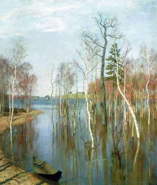 Description of the painting by Isaac Levitan Spring. Big water