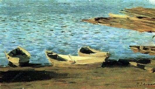 Description of the painting by Isaac Levitan At the shore. Boats