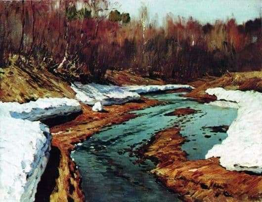 Description of the painting by Isaac Levitan Spring. Last snow