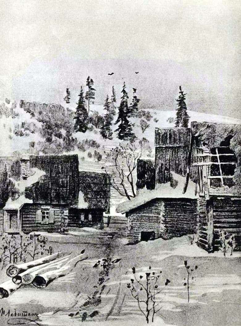 Description of the painting by the drawing of Isaac Levitan Village (1884)