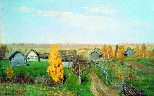 Description of the painting by Isaac Levitan Golden Autumn Slobodka