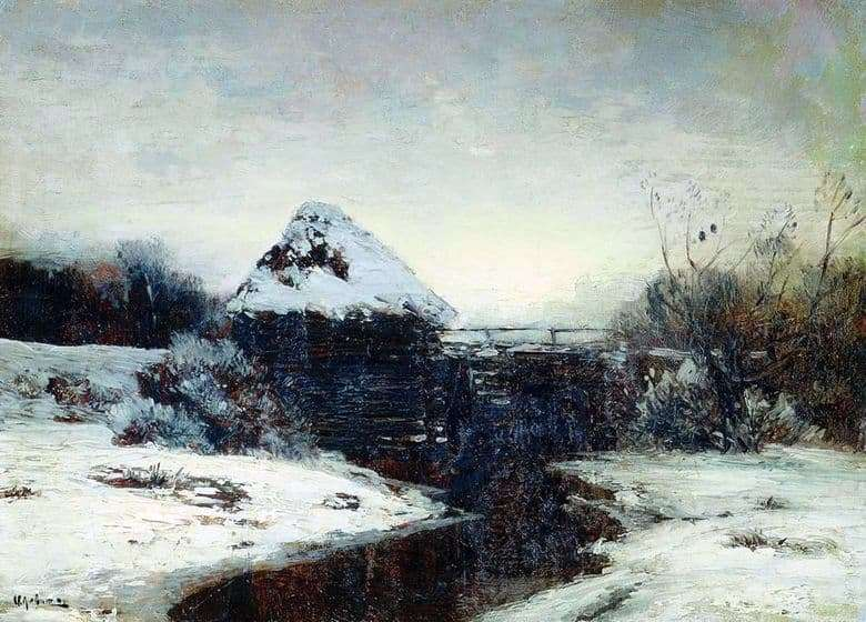 Description of the painting by Isaac Levitan Winter landscape with a mill
