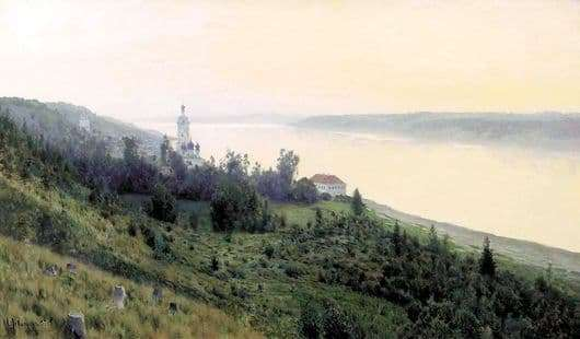 Description of the painting by Isaac Levitan Evening. Golden Ples