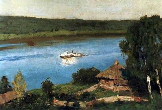 Description of the painting by Isaac Levitan Landscape with a steamer