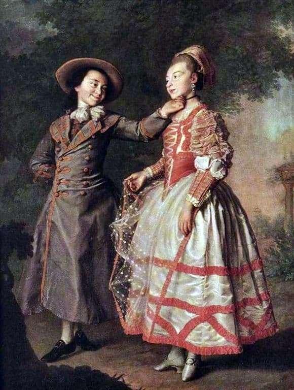 Description of the painting by Dmitry Levitsky Portrait of E. N. Khrushchova and E. N. Khovanskaya