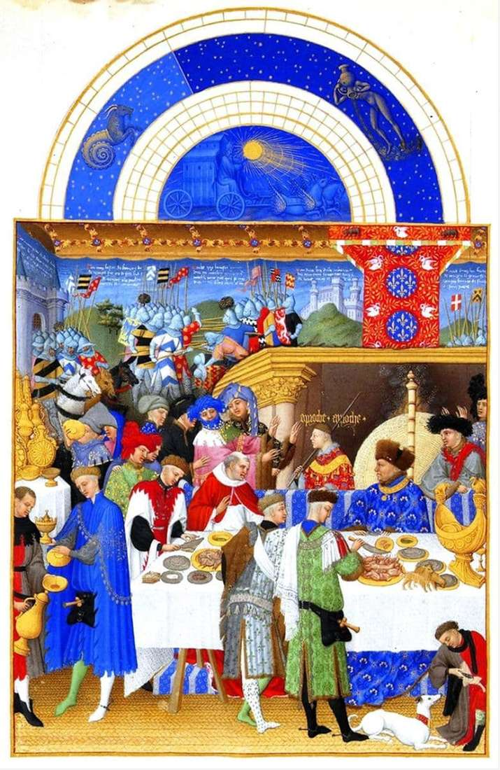 Description of the painting by the Limburg Brothers the magnificent pedagogue of the Duke of Berry