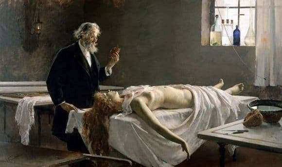 Description of the painting by Enrique Lombardo She had a heart (Anatomy of the heart or Autopsy)