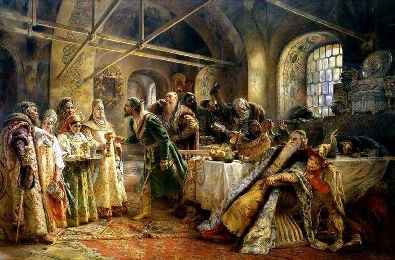 Description of the painting by Vladimir Makovsky Kiss rite