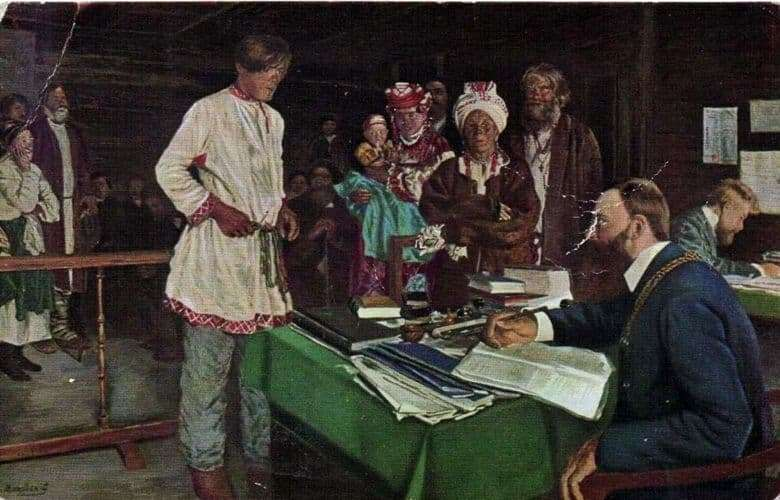 Description of the painting by Vladimir Makovsky Family matter at the magistrate