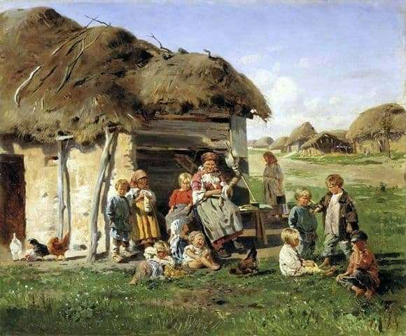 Description of the painting by Vladimir Makovsky Peasant Children