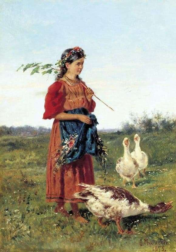 Description of the painting by Vladimir Makovsky Girl with geese in the field