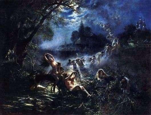 Description of the painting by Konstantin Makovsky Mermaids