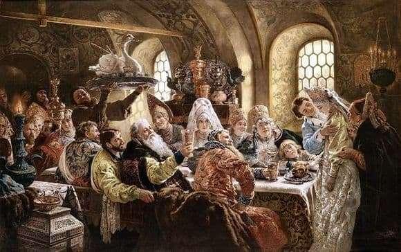 Description of the painting by Konstantin Makovsky Boyarsky wedding feast