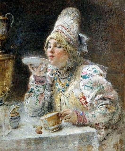 Description of the painting by Konstantin Makovsky For tea