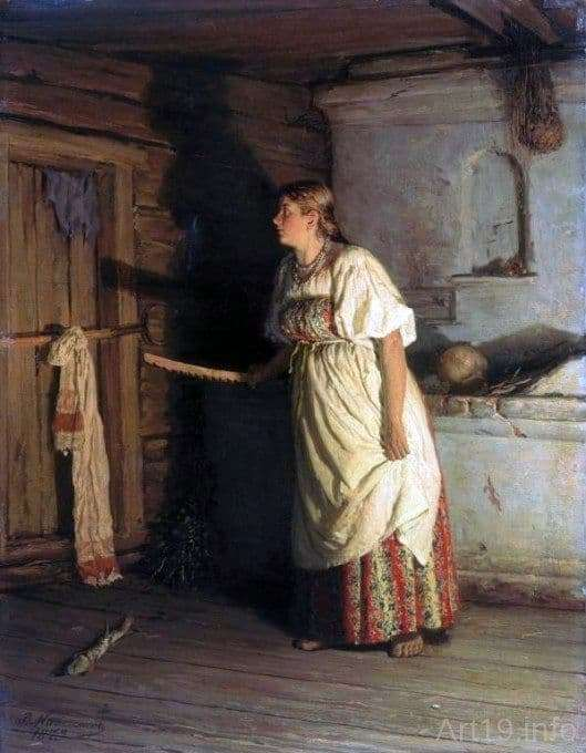 Description of the painting by Vasily Maximov Who is there?