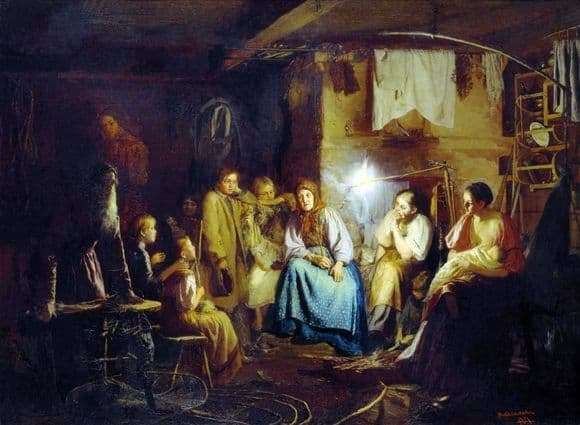 Description of the painting by Vasily Maximov Grandmothers Tales