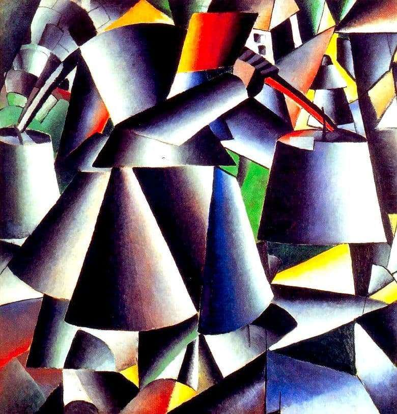 Description of the painting by Kazimir Malevich Woman with buckets