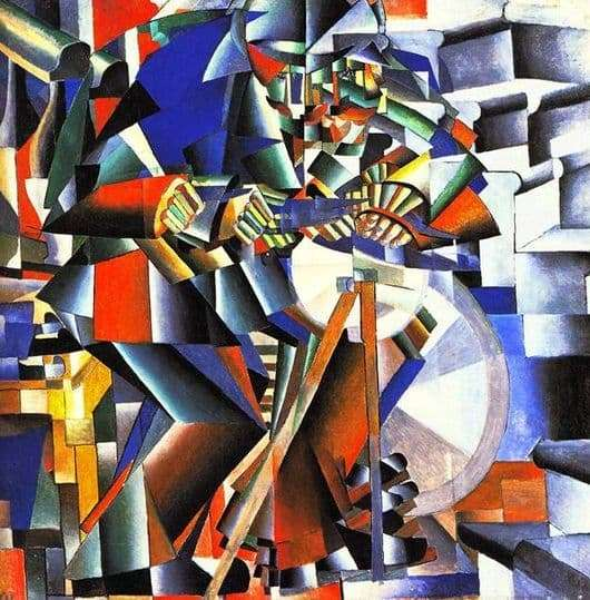 Description of the painting by Kazimir Malevich Grinder