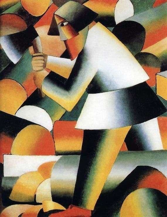 Description of the painting by Kazimir Malevich Woodcutter