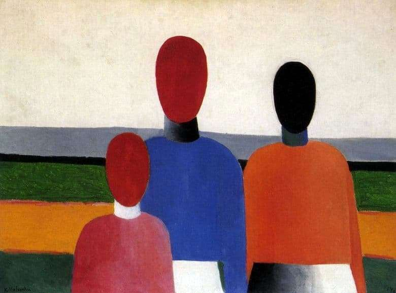 Description of the painting by Kazimir Malevich Three female figures