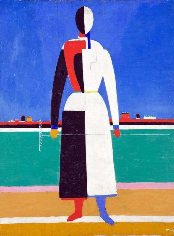 Description of the painting by Kazimir Malevich Woman with a rake