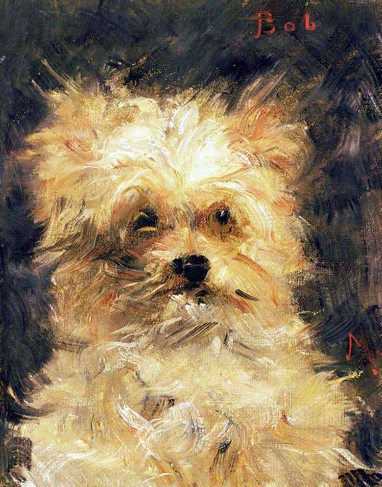 Description of the painting by Edward Mane The head of the dog