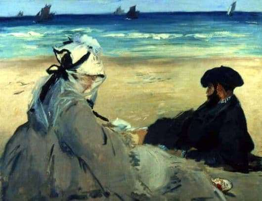 Description of the painting by Edward Manet On the shore