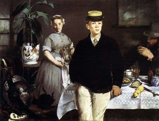 Description of the painting by Edward Manet Breakfast in the workshop