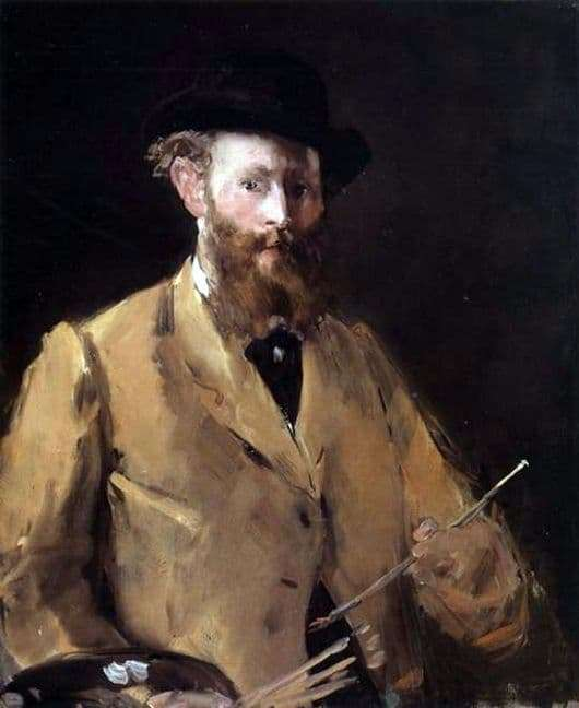 Description of the painting by Edward Manet Self portrait with brushes