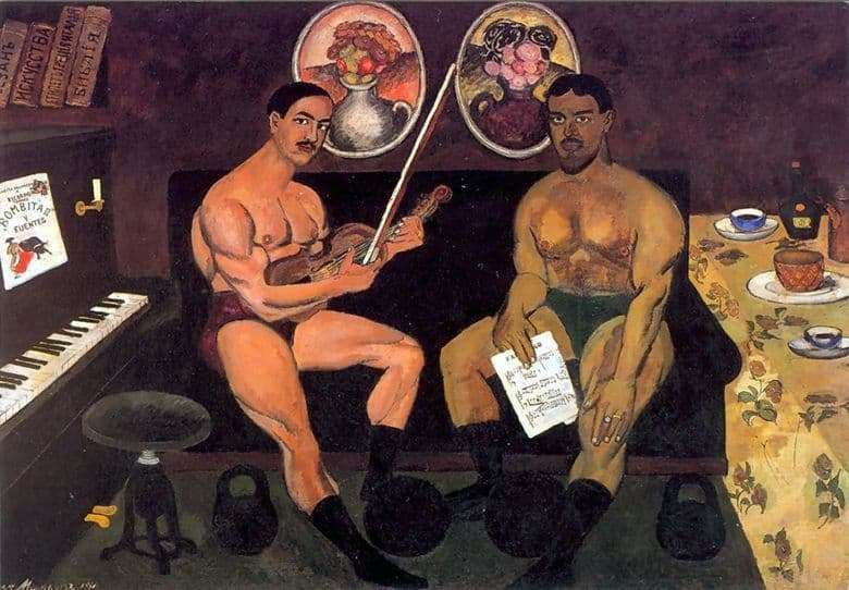 Description of the painting by Ilya Mashkov Self portrait with Konchalovsky